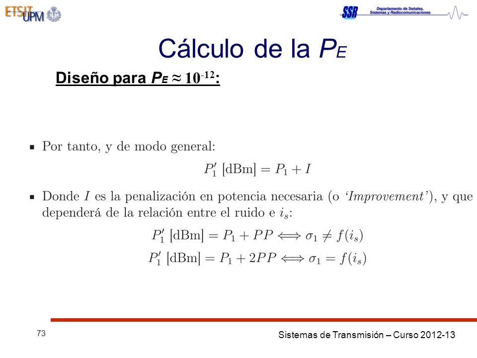 Sistemas de Transmisión – Curso 2012-13 73 Cálculo de la P E Diseño para P E 10 -12 :