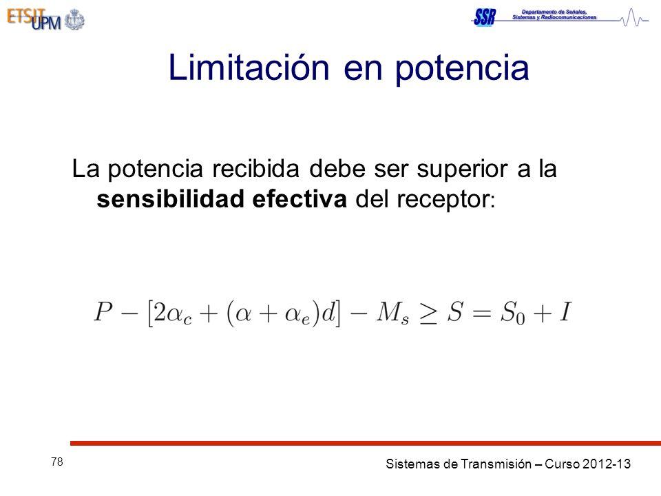 Sistemas de Transmisión – Curso 2012-13 78 Limitación en potencia La potencia recibida debe ser superior a la sensibilidad efectiva del receptor :