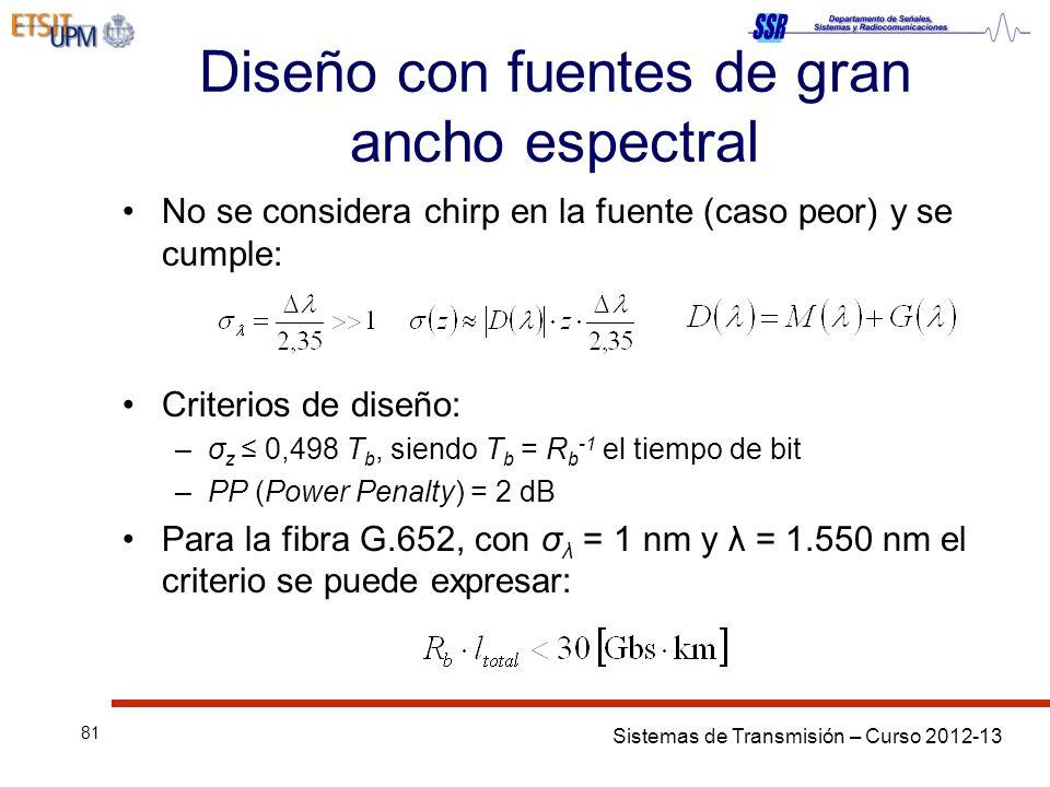 Sistemas de Transmisión – Curso 2012-13 81 Diseño con fuentes de gran ancho espectral No se considera chirp en la fuente (caso peor) y se cumple: Criterios de diseño: –σ z 0,498 T b, siendo T b = R b -1 el tiempo de bit –PP (Power Penalty) = 2 dB Para la fibra G.652, con σ λ = 1 nm y λ = 1.550 nm el criterio se puede expresar: