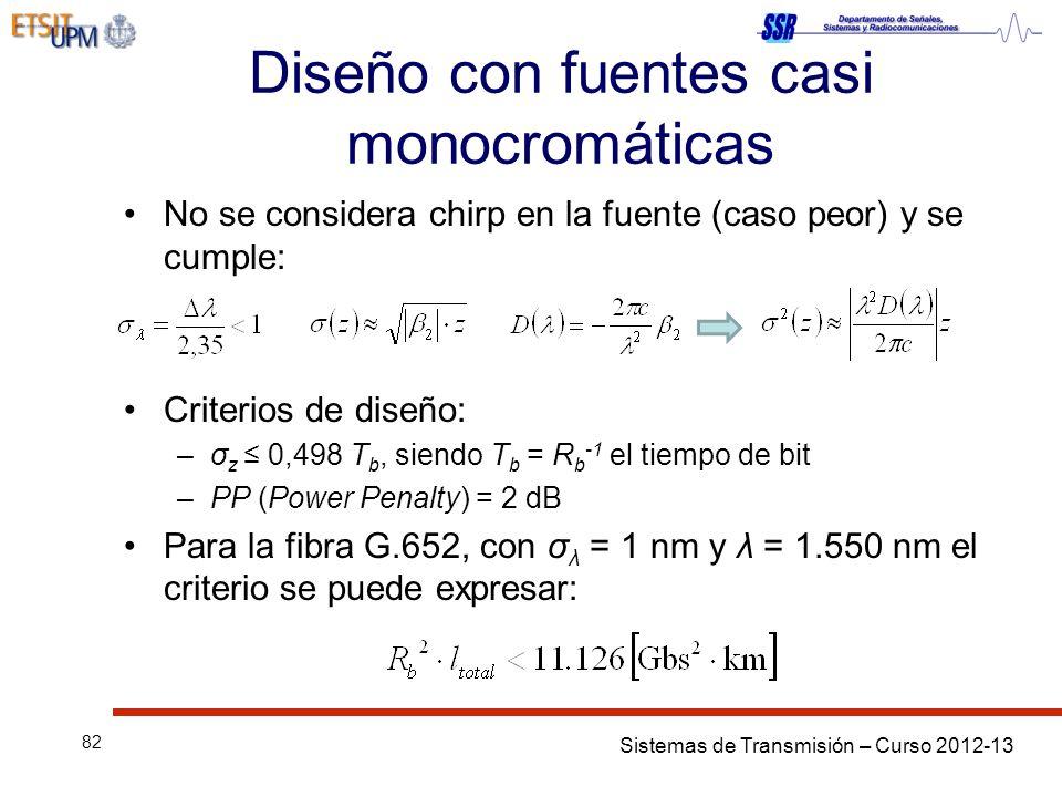 Sistemas de Transmisión – Curso 2012-13 82 Diseño con fuentes casi monocromáticas No se considera chirp en la fuente (caso peor) y se cumple: Criterios de diseño: –σ z 0,498 T b, siendo T b = R b -1 el tiempo de bit –PP (Power Penalty) = 2 dB Para la fibra G.652, con σ λ = 1 nm y λ = 1.550 nm el criterio se puede expresar: