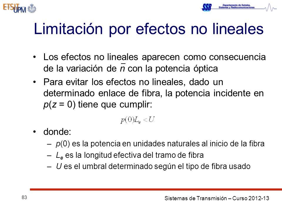 Sistemas de Transmisión – Curso 2012-13 83 Limitación por efectos no lineales Los efectos no lineales aparecen como consecuencia de la variación de n