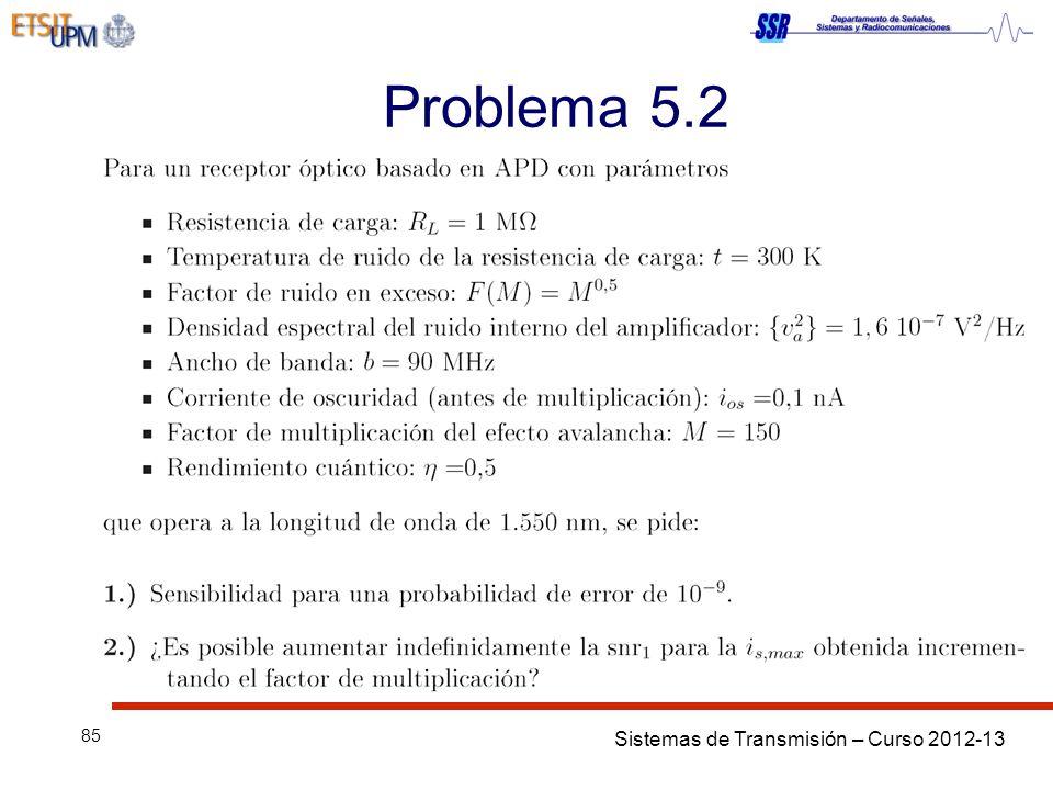 Sistemas de Transmisión – Curso 2012-13 85 Problema 5.2