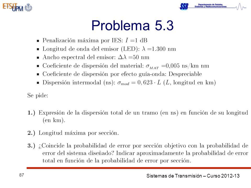 Sistemas de Transmisión – Curso 2012-13 87 Problema 5.3