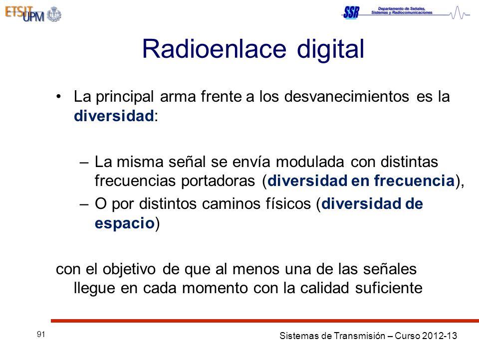 Sistemas de Transmisión – Curso 2012-13 91 Radioenlace digital La principal arma frente a los desvanecimientos es la diversidad: –La misma señal se en