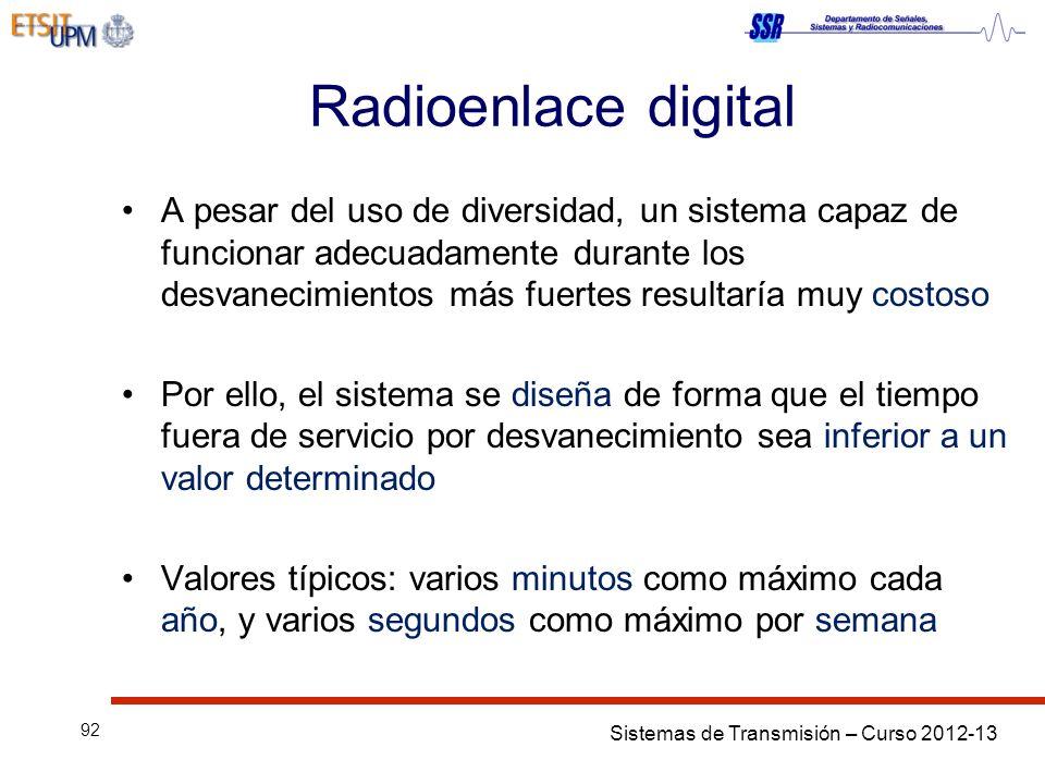 Sistemas de Transmisión – Curso 2012-13 92 Radioenlace digital A pesar del uso de diversidad, un sistema capaz de funcionar adecuadamente durante los