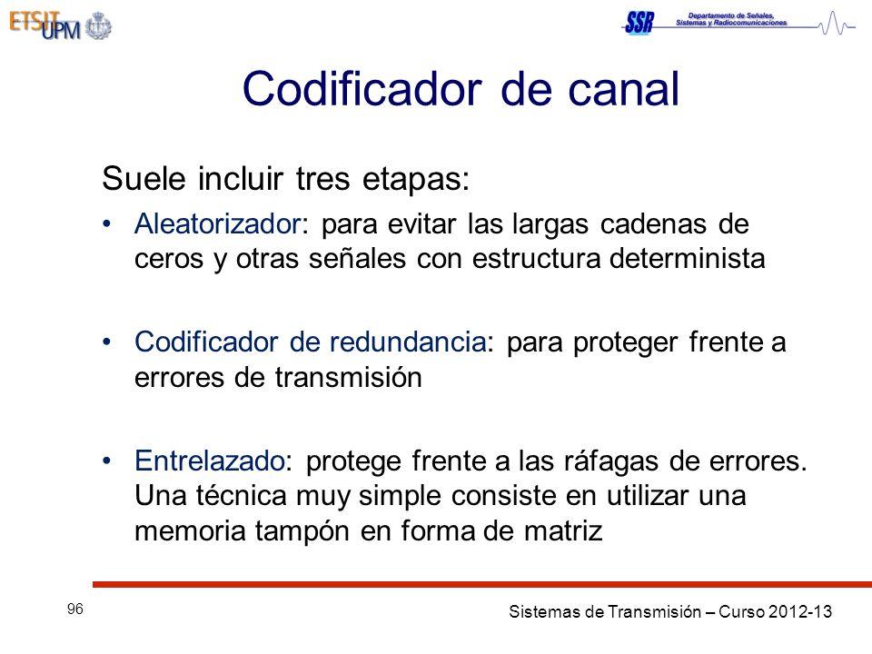 Sistemas de Transmisión – Curso 2012-13 96 Codificador de canal Suele incluir tres etapas: Aleatorizador: para evitar las largas cadenas de ceros y ot
