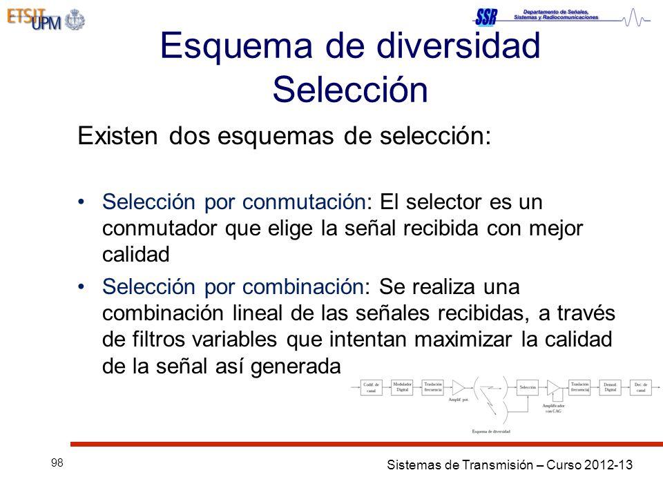 Sistemas de Transmisión – Curso 2012-13 98 Esquema de diversidad Selección Existen dos esquemas de selección: Selección por conmutación: El selector e