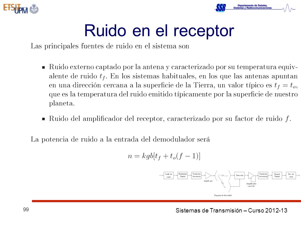 Sistemas de Transmisión – Curso 2012-13 99 Ruido en el receptor