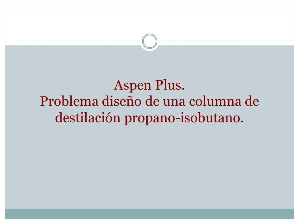 Aspen Plus. Problema diseño de una columna de destilación propano-isobutano.