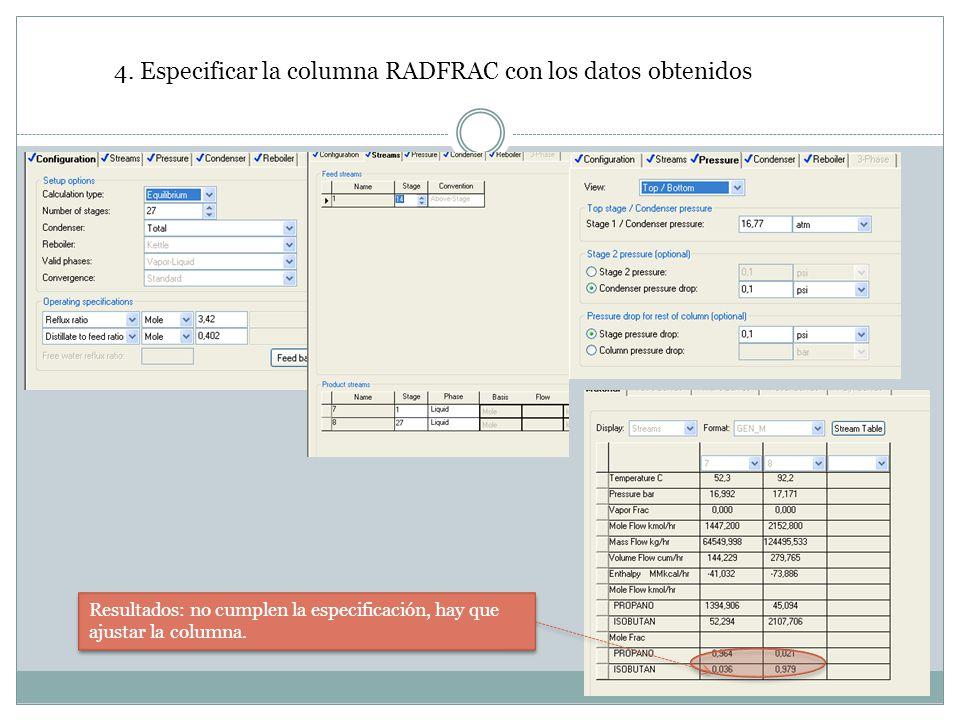 4. Especificar la columna RADFRAC con los datos obtenidos Resultados: no cumplen la especificación, hay que ajustar la columna.