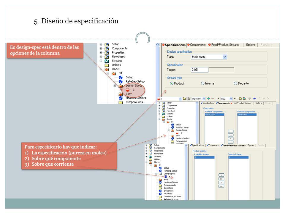 5. Diseño de especificación Es design-spec está dentro de las opciones de la columna Para especificarlo hay que indicar: 1)La especificación (pureza e