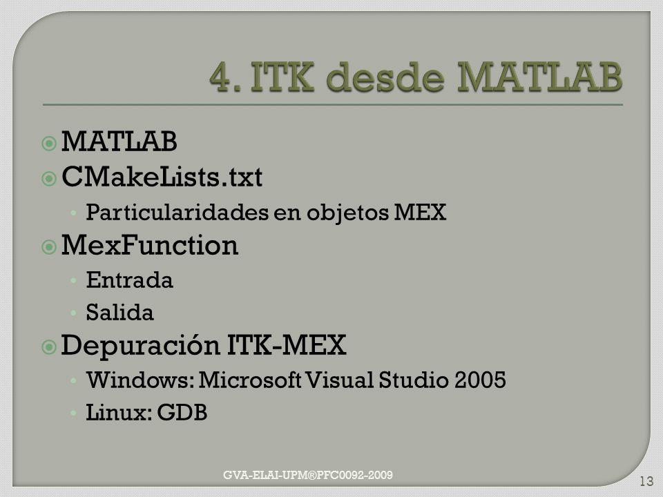 MATLAB CMakeLists.txt Particularidades en objetos MEX MexFunction Entrada Salida Depuración ITK-MEX Windows: Microsoft Visual Studio 2005 Linux: GDB G