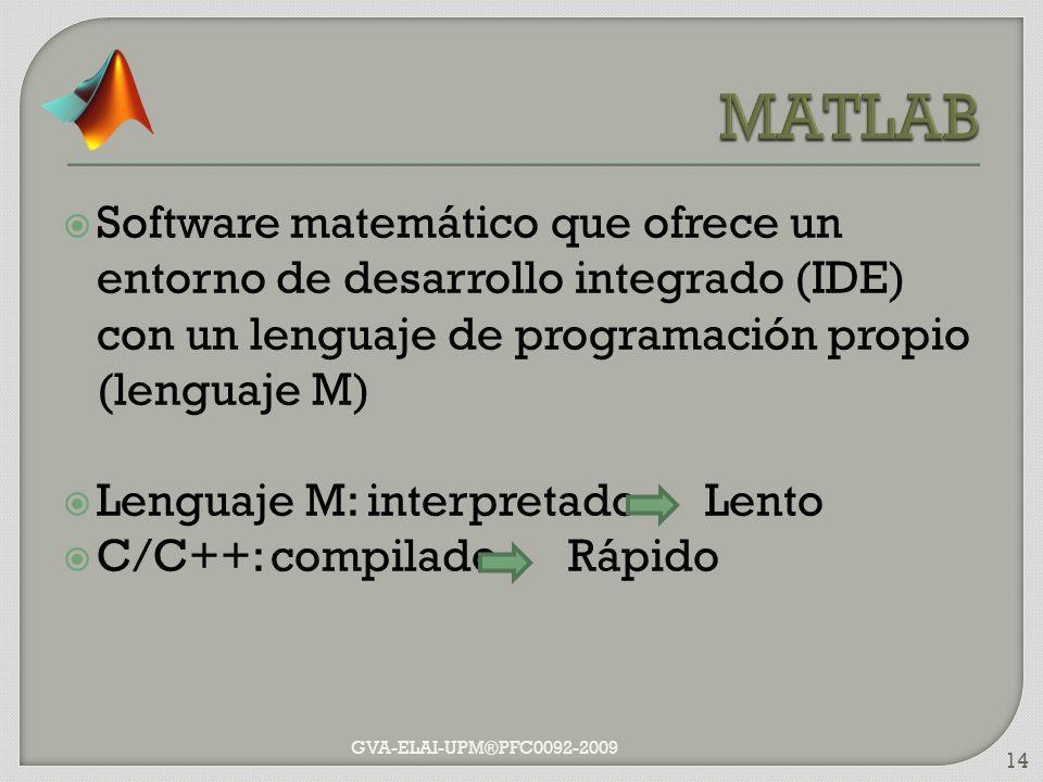 Software matemático que ofrece un entorno de desarrollo integrado (IDE) con un lenguaje de programación propio (lenguaje M) Lenguaje M: interpretado L