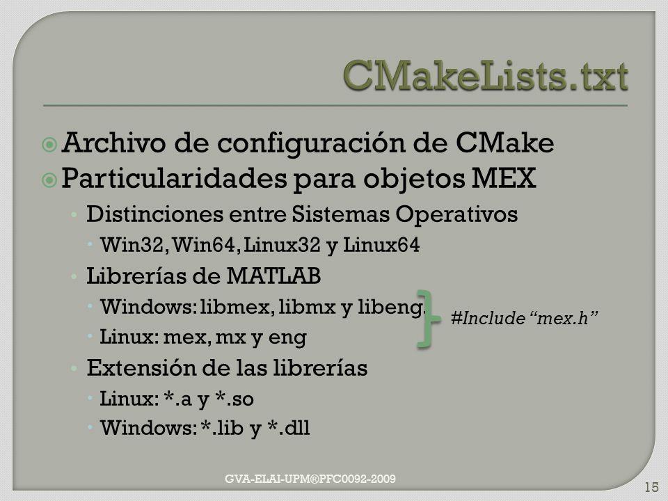 Archivo de configuración de CMake Particularidades para objetos MEX Distinciones entre Sistemas Operativos Win32, Win64, Linux32 y Linux64 Librerías d