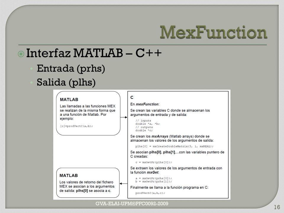 Interfaz MATLAB – C++ Entrada (prhs) Salida (plhs) GVA-ELAI-UPM®PFC0092-2009 16