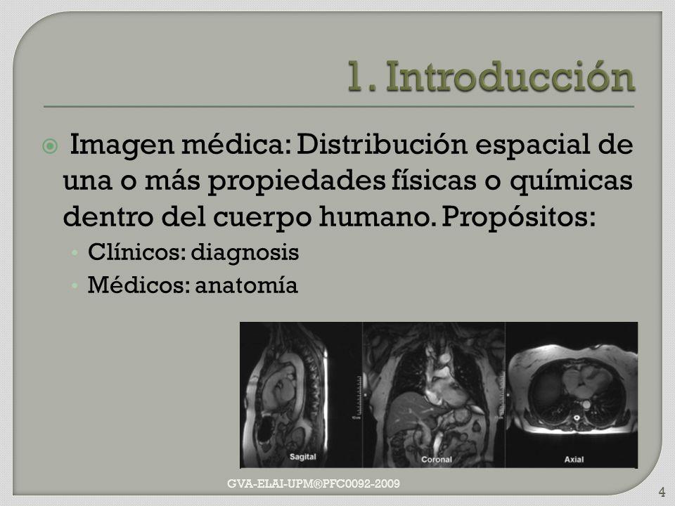 Imagen médica: Distribución espacial de una o más propiedades físicas o químicas dentro del cuerpo humano. Propósitos: Clínicos: diagnosis Médicos: an