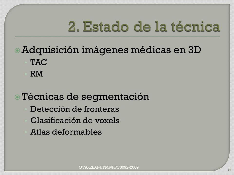 Adquisición imágenes médicas en 3D TAC RM Técnicas de segmentación Detección de fronteras Clasificación de voxels Atlas deformables GVA-ELAI-UPM®PFC00