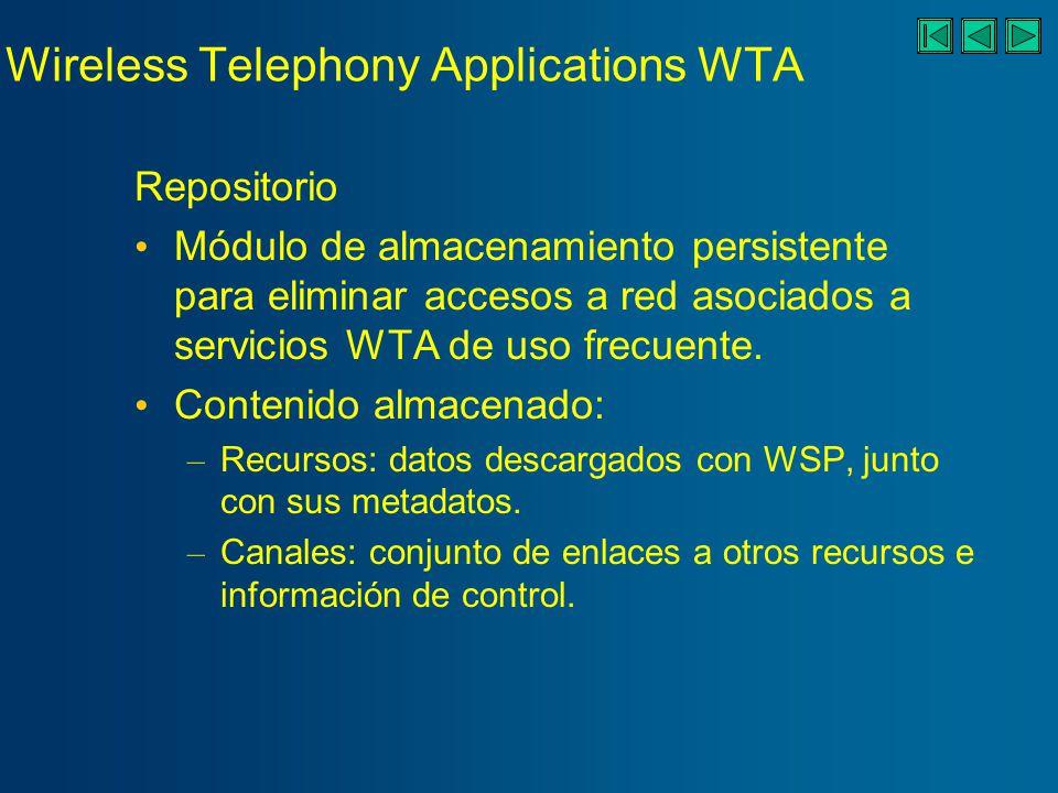 Wireless Telephony Applications WTA Repositorio Módulo de almacenamiento persistente para eliminar accesos a red asociados a servicios WTA de uso frecuente.