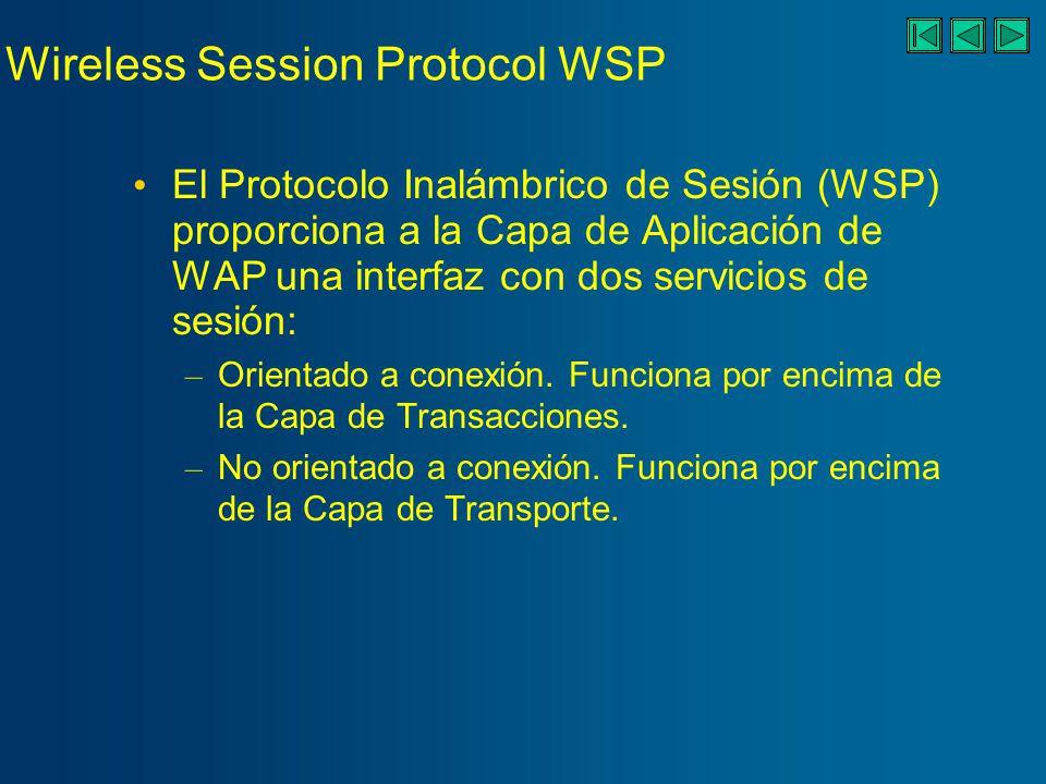 Wireless Session Protocol WSP El Protocolo Inalámbrico de Sesión (WSP) proporciona a la Capa de Aplicación de WAP una interfaz con dos servicios de sesión: – Orientado a conexión.