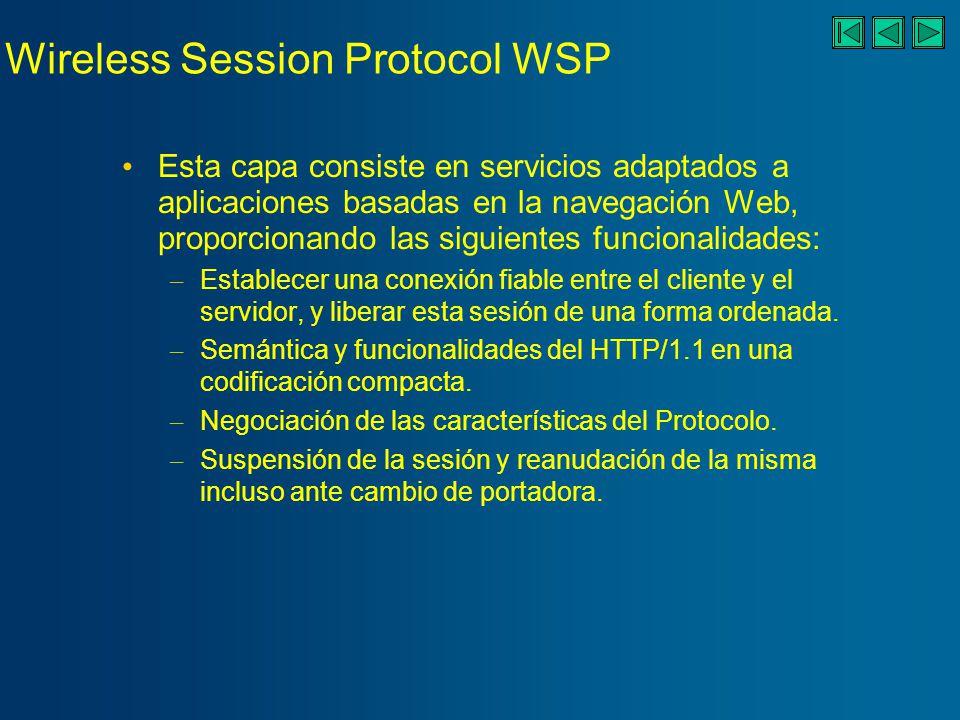 Wireless Session Protocol WSP Esta capa consiste en servicios adaptados a aplicaciones basadas en la navegación Web, proporcionando las siguientes funcionalidades: – Establecer una conexión fiable entre el cliente y el servidor, y liberar esta sesión de una forma ordenada.