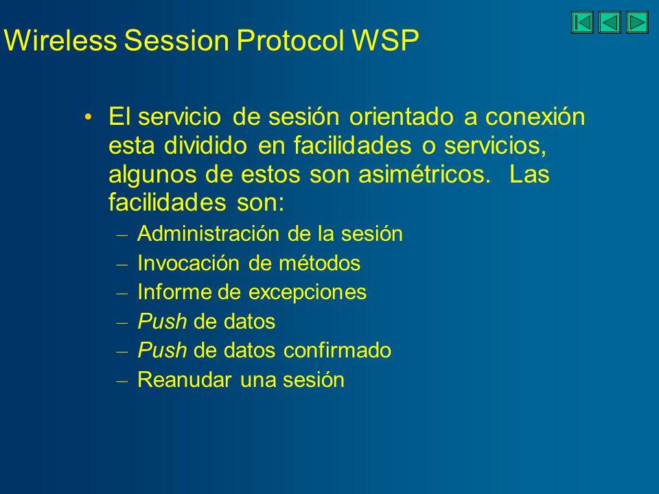 Wireless Transaction Protocol WTP Protocolo ligero de transacciones apto para su implantación en clientes ligeros, como terminales móviles.