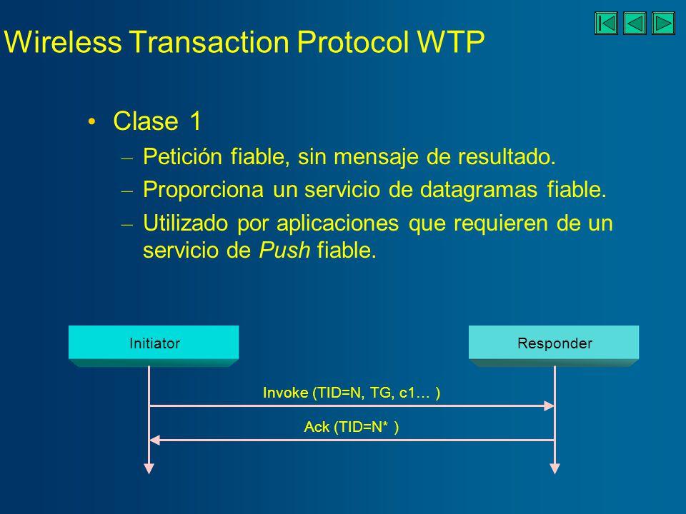 Wireless Transaction Protocol WTP Clase 1 – Petición fiable, sin mensaje de resultado.