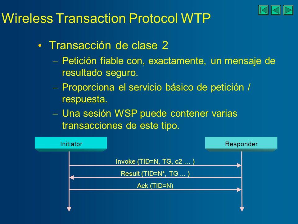 Wireless Transaction Protocol WTP Fiabilidad conseguida con identificadores de transacción únicos, ACKs, eliminación de duplicados, y retransmisiones.