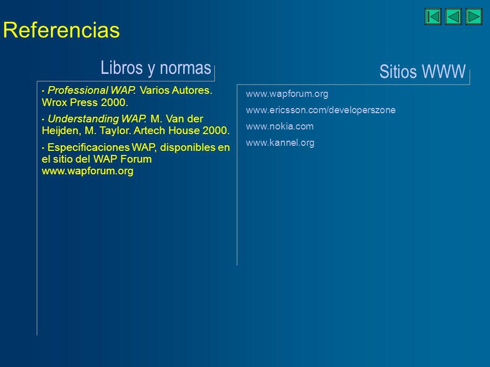 Referencias Libros y normas Sitios WWW Professional WAP.