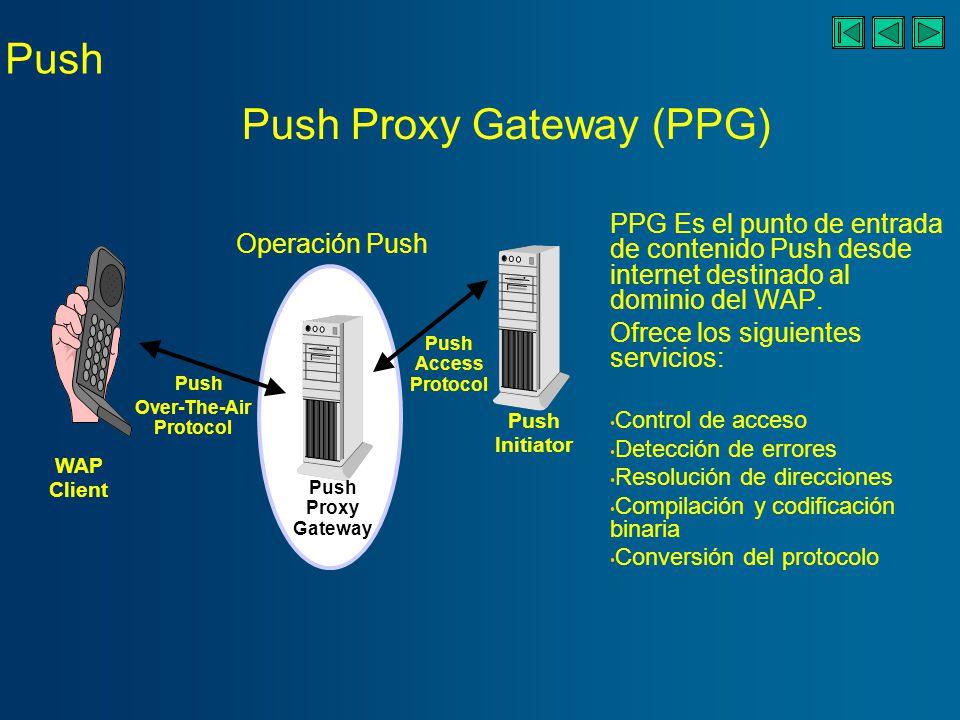 Push WAP Client Over- The-Air Protocol Push Push Proxy Gateway Push Initiator Push Access Protocol Operación Push Es el medio a través del cual un iniciador realiza una operación Push a través de la PPG hacia la red móvil Mensajes Push (del iniciador a PPG) Notificación de resultado (de PPG al iniciador) Cancelación de Push (del iniciador a PPG) Estado de la Pregunta (del iniciador a PPG) Push Access Protocol (PAP)