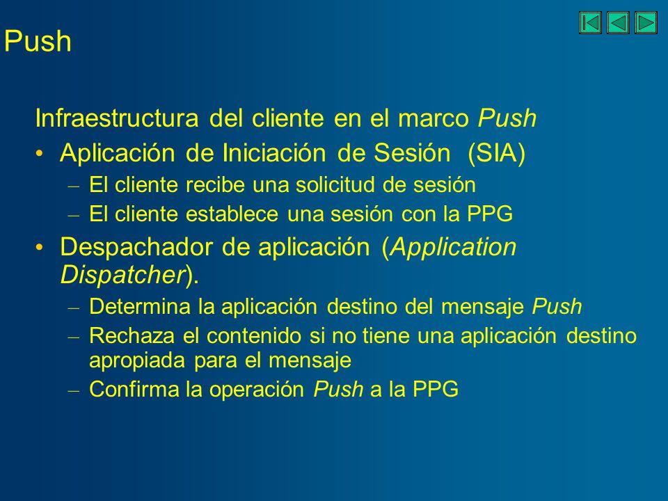 Push Infraestructura del cliente en el marco Push Aplicación de Iniciación de Sesión (SIA) – El cliente recibe una solicitud de sesión – El cliente establece una sesión con la PPG Despachador de aplicación (Application Dispatcher).