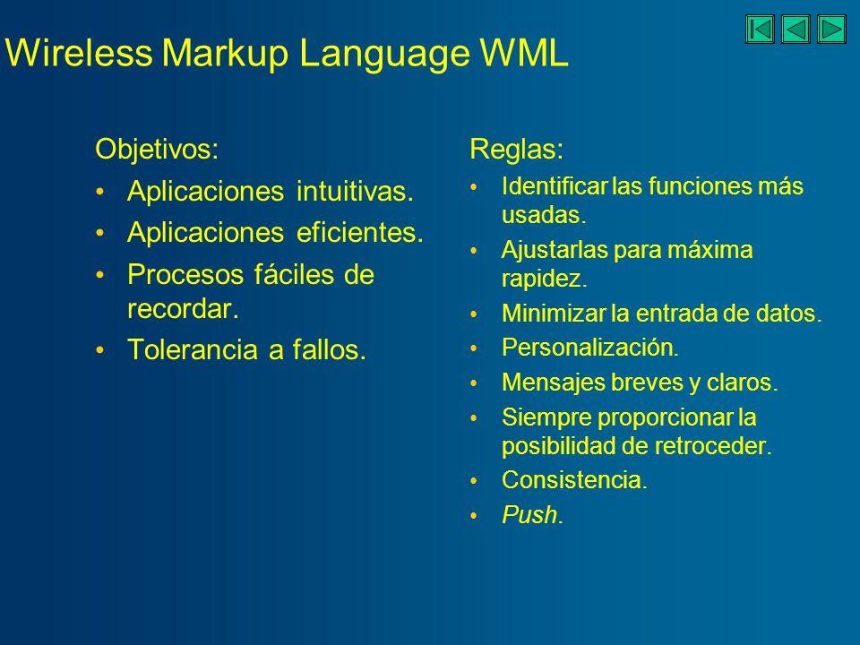 Wireless Markup Language WML Objetivos: Aplicaciones intuitivas.