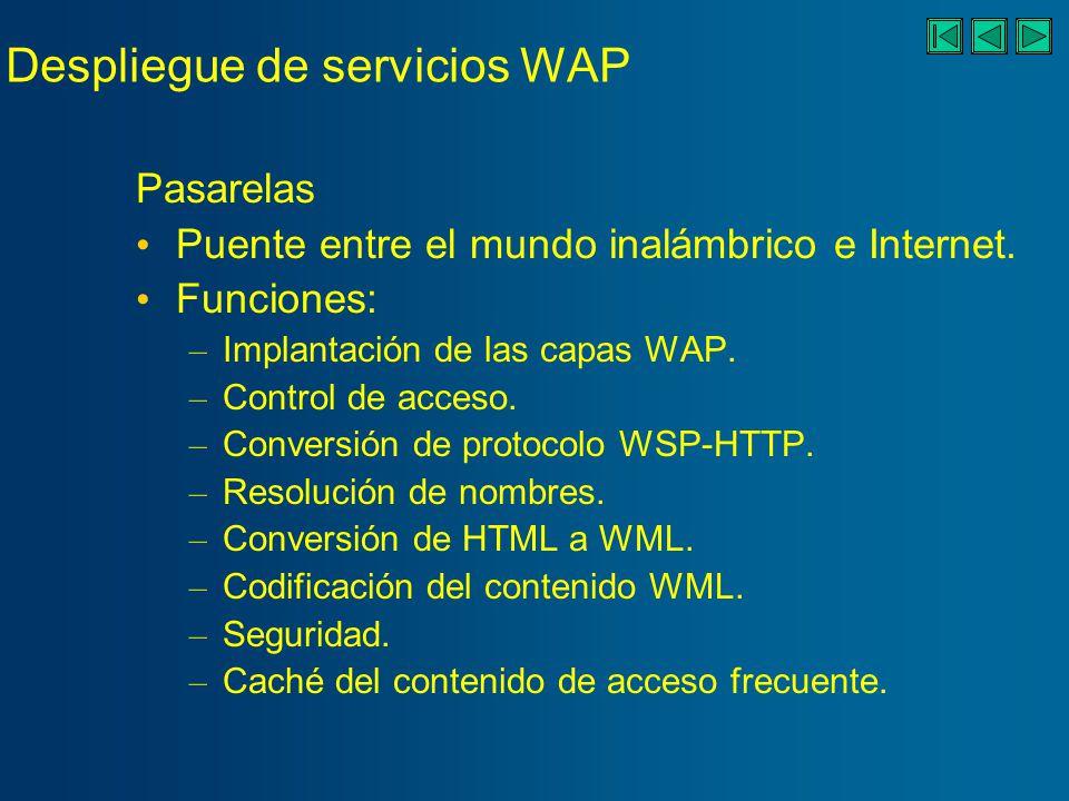 Despliegue de servicios WAP Pasarelas Puente entre el mundo inalámbrico e Internet.