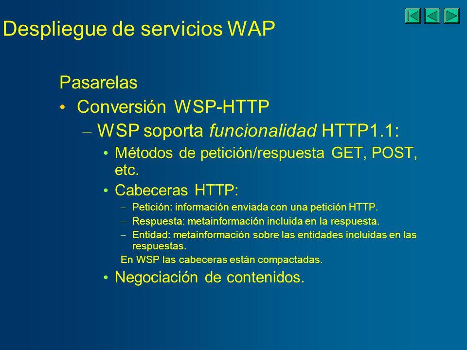 Despliegue de servicios WAP Pasarelas Resolución de nombres: para los URLs.