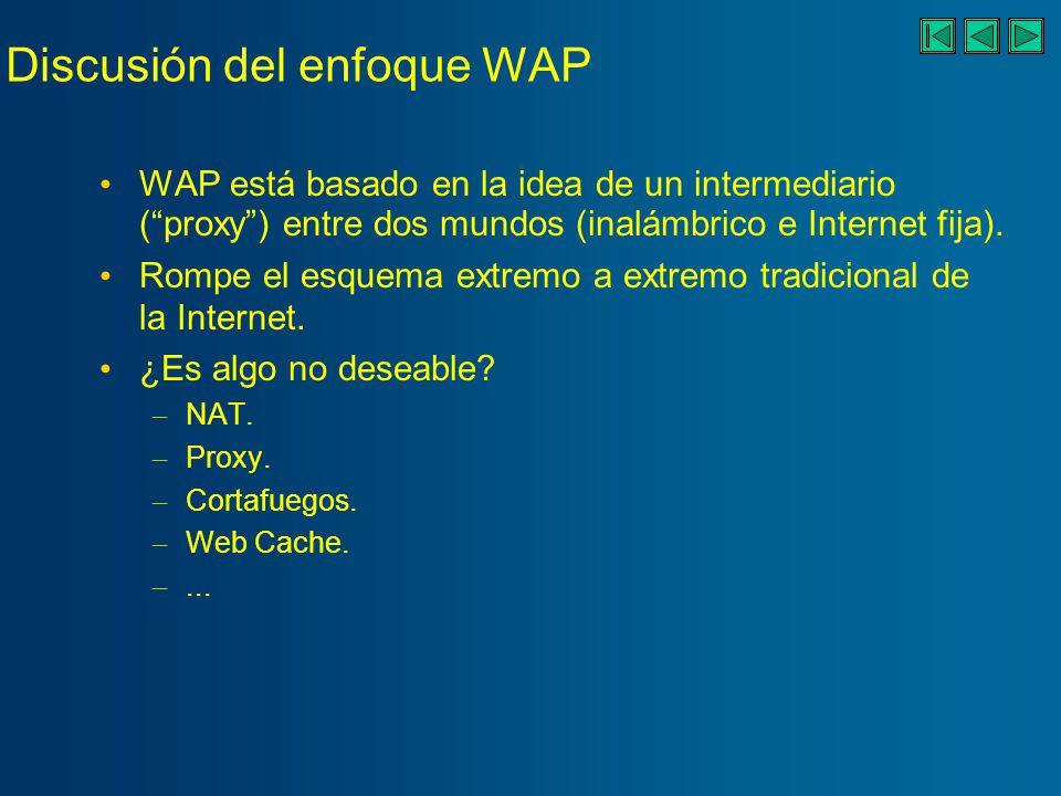 Discusión del enfoque WAP WAP está basado en la idea de un intermediario (proxy) entre dos mundos (inalámbrico e Internet fija).