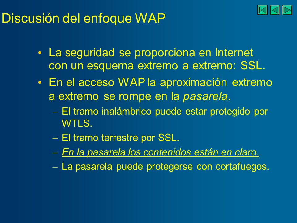 Discusión del enfoque WAP Ejemplo: aplicaciones de banca electrónica.