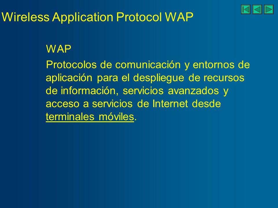 Wireless Application Protocol WAP WAP Protocolos de comunicación y entornos de aplicación para el despliegue de recursos de información, servicios avanzados y acceso a servicios de Internet desde terminales móviles.