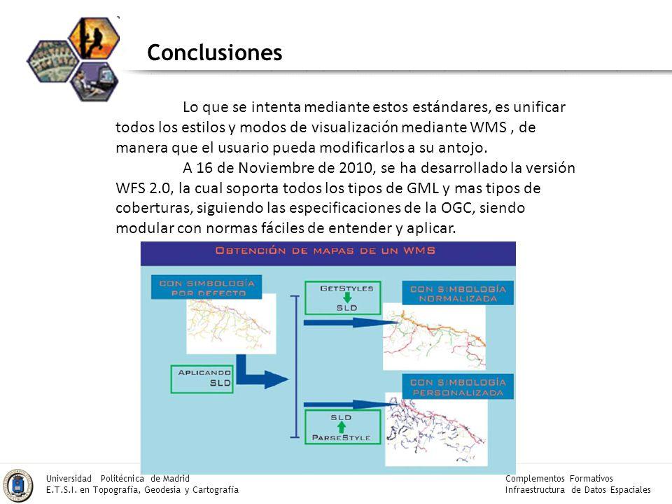 Complementos Formativos Infraestructura de Datos Espaciales Universidad Politécnica de Madrid E.T.S.I. en Topografía, Geodesia y Cartografía Conclusio