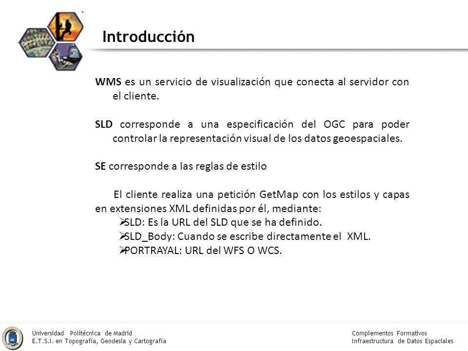 Complementos Formativos Infraestructura de Datos Espaciales Universidad Politécnica de Madrid E.T.S.I. en Topografía, Geodesia y Cartografía Introducc
