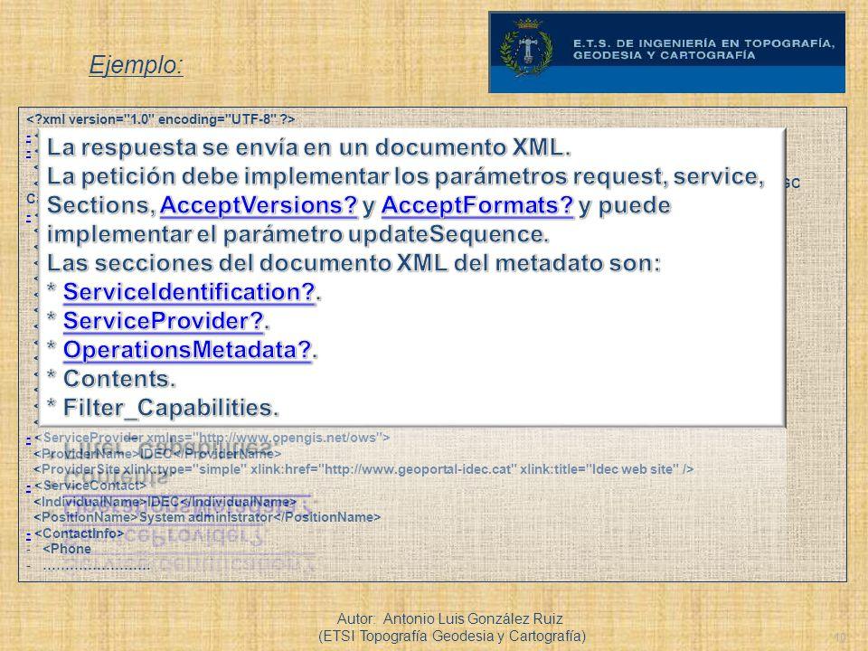 10 Ejemplo: Autor: Antonio Luis González Ruiz (ETSI Topografía Geodesia y Cartografía) - IDEC Metadata Catalog CSW A web-based registry service that i