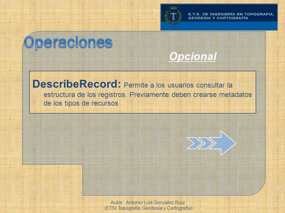 11 DescribeRecord: Permite a los usuarios consultar la estructura de los registros. Previamente deben crearse metadatos de los tipos de recursos Autor