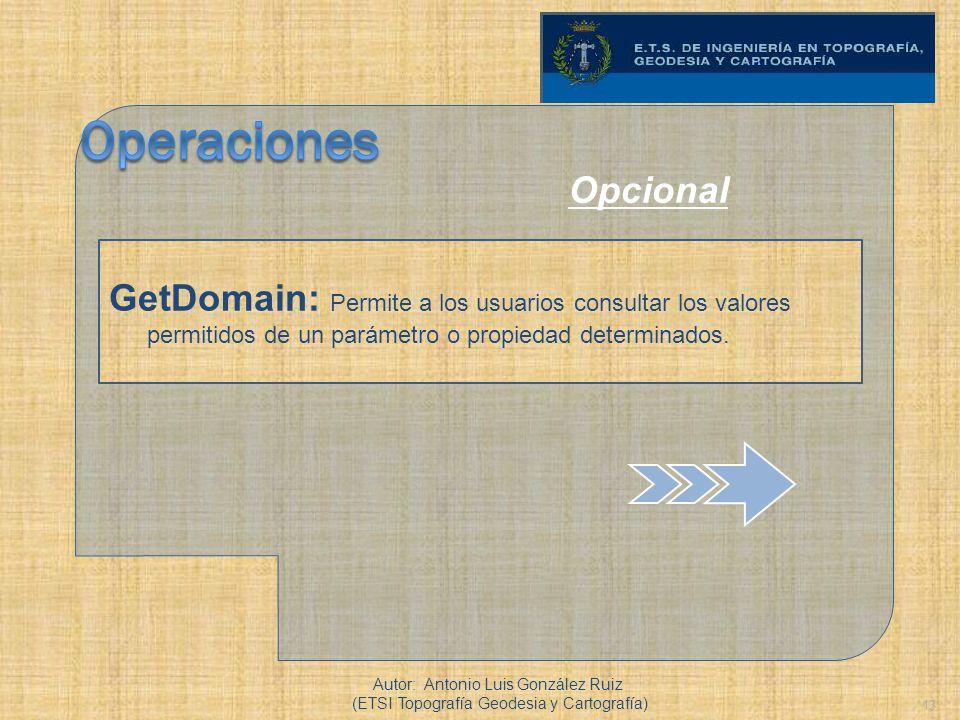 13 GetDomain: Permite a los usuarios consultar los valores permitidos de un parámetro o propiedad determinados. Autor: Antonio Luis González Ruiz (ETS