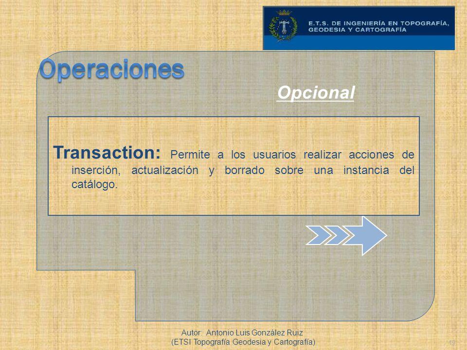 19 Transaction: Permite a los usuarios realizar acciones de inserción, actualización y borrado sobre una instancia del catálogo. Autor: Antonio Luis G
