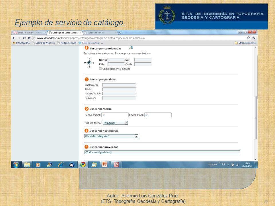 22 Ejemplo de servicio de catálogo. Autor: Antonio Luis González Ruiz (ETSI Topografía Geodesia y Cartografía)