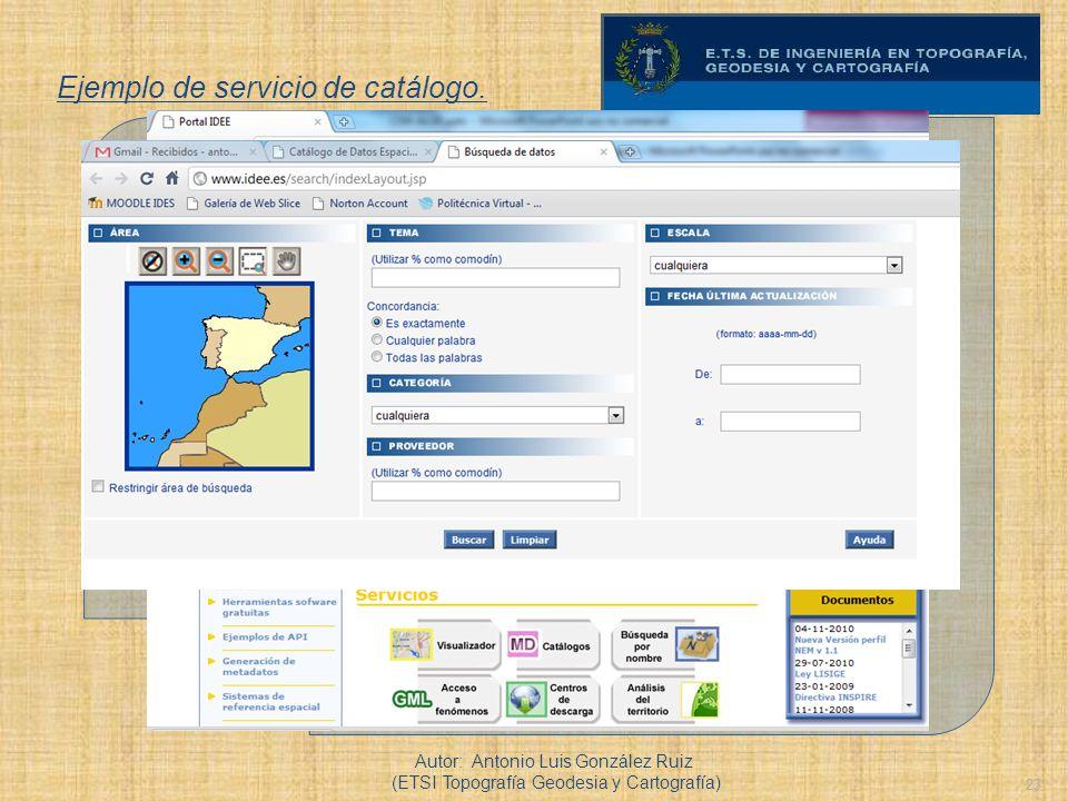 23 Ejemplo de servicio de catálogo. Autor: Antonio Luis González Ruiz (ETSI Topografía Geodesia y Cartografía)