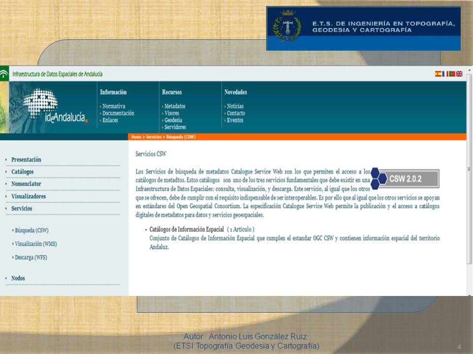 Autores: Eva Calvillo, Jorge Belenguer (ETSIT Topografía Geodesia y Cartografía)4 Los servicios de búsqueda de metadatos Catalogue Service Web son los