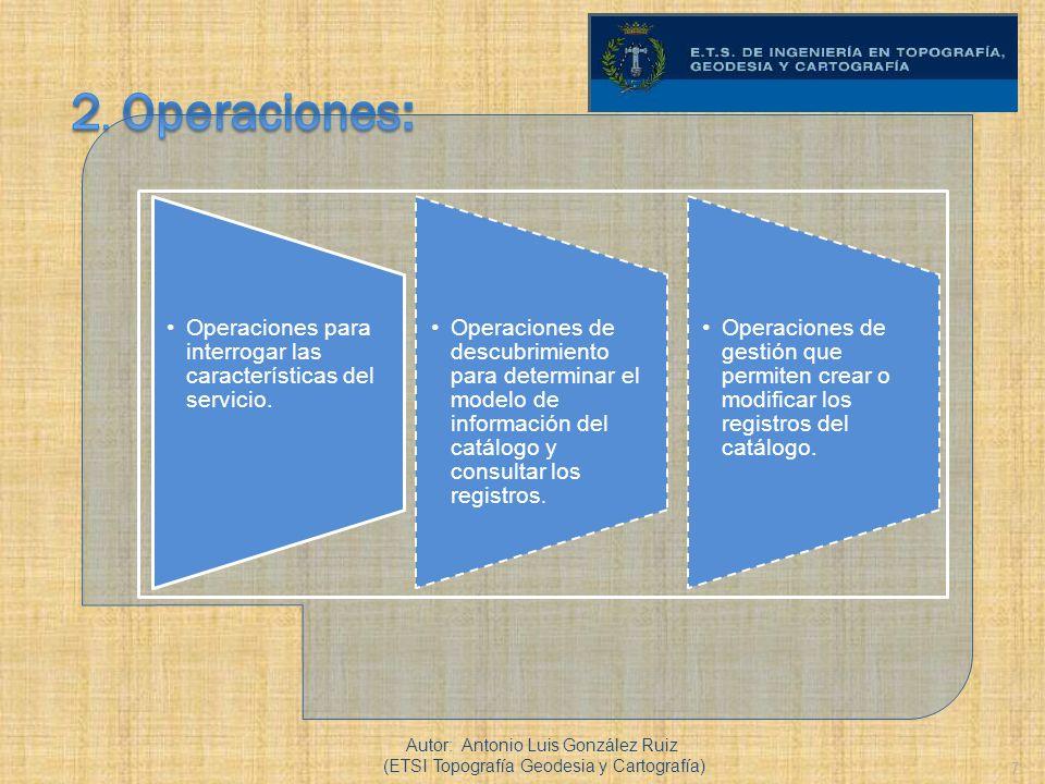 7 Operaciones para interrogar las características del servicio. Operaciones de descubrimiento para determinar el modelo de información del catálogo y