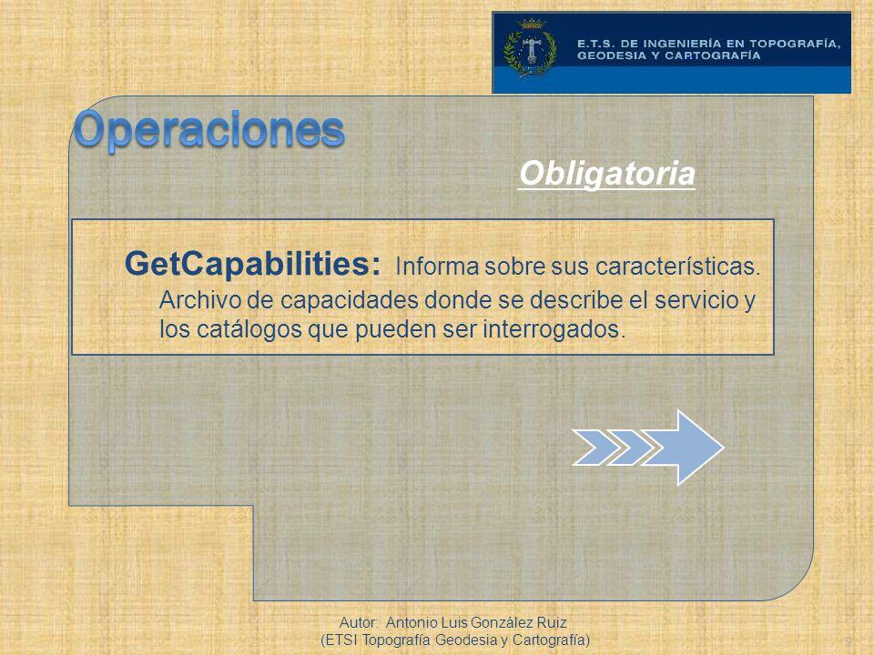 GetCapabilities: Informa sobre sus características. Archivo de capacidades donde se describe el servicio y los catálogos que pueden ser interrogados.