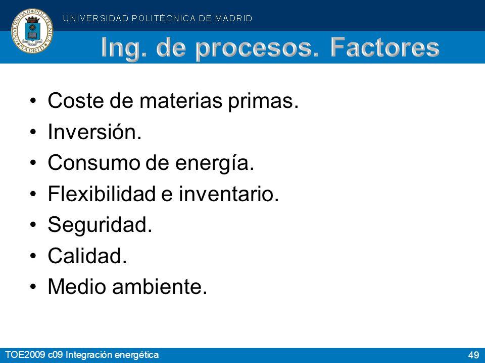 49 TOE2009 c09 Integración energética Coste de materias primas.