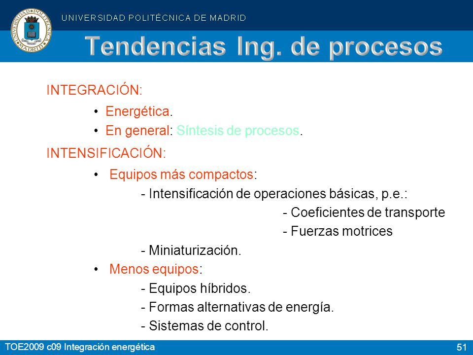 51 TOE2009 c09 Integración energética INTEGRACIÓN: Energética.