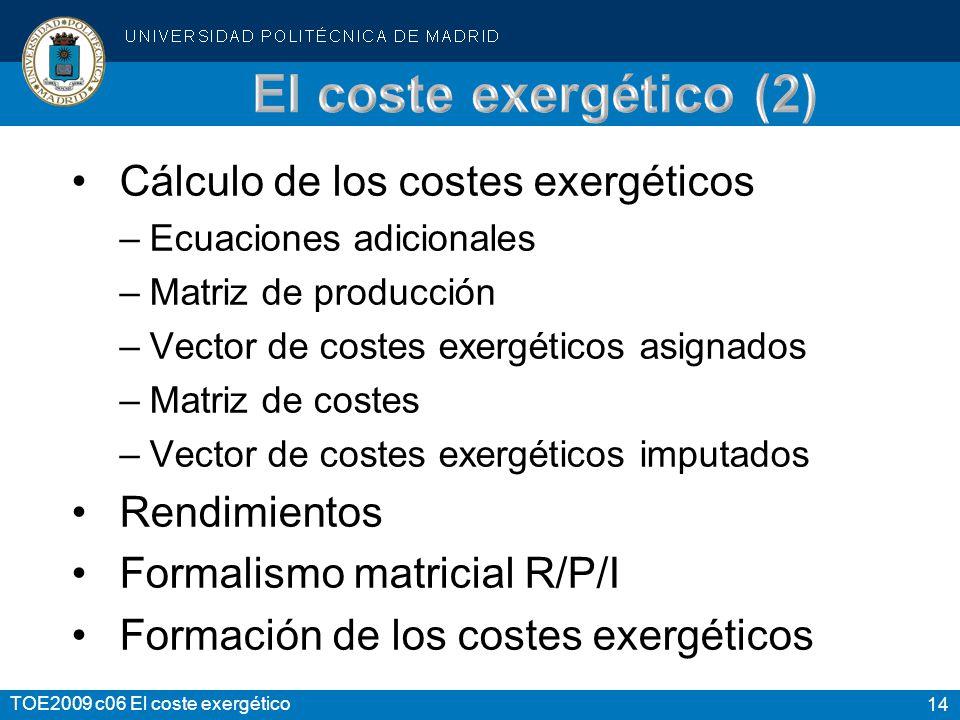 14 TOE2009 c06 El coste exergético Cálculo de los costes exergéticos –Ecuaciones adicionales –Matriz de producción –Vector de costes exergéticos asign